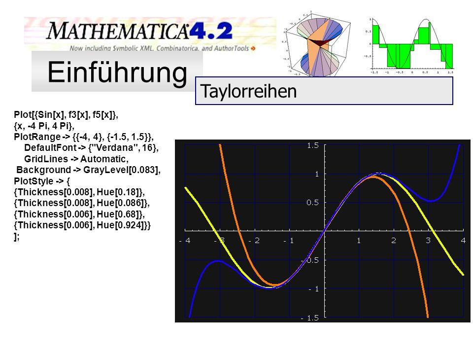 Einführung Taylorreihen Plot[{Sin[x], f3[x], f5[x]}, {x, -4 Pi, 4 Pi},